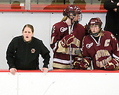 Katie King (BC - Head Coach), Elizabeth Olchowski (BC - 13), Tracy Johnson (BC - 5) - The Harvard University Crimson defeated the Boston College Eagles 5-0 in their Beanpot semi-final game on Tuesday, February 2, 2010 at the Bright Hockey Center in Cambridge, Massachusetts.