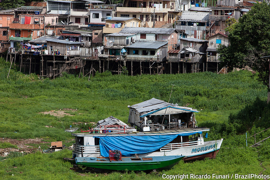 Stilt houses in a Manaus city favela, area where flooding is likely to happen, Brazil.