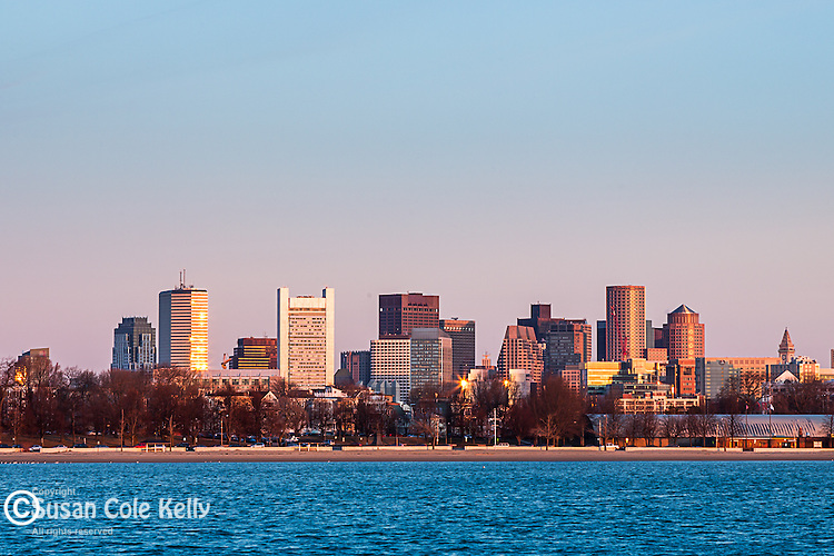The Boston skyline seen from the Castle Island causeway in South Boston, Massachusetts, USA