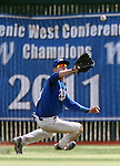 Western Nevada College's Joey Crunkilton makes a catch against the College of Southern Nevada during a college baseball game at John L. Harvey field, on Sunday, April 27, 2014, in Carson City, Nev.<br /> Photo by Cathleen Allison/Nevada Photo Source