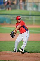 Andres Heredia (37) of the Orem Owlz delivers a pitch to the plate against the Ogden Raptors in Pioneer League action at Lindquist Field on June 21, 2017 in Ogden, Utah. The Owlz defeated the Raptors 16-5. This was Opening Night at home for the Raptors.  (Stephen Smith/Four Seam Images)