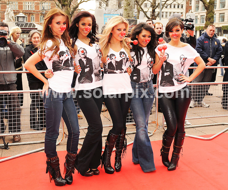 **ALL ROUND PICTURES FROM SOLARPIX.COM**.**WORLDWIDE SYNDICATION RIGHTS**.The Red Nose Day launch for Comic Relief 2009.  Held at The Empire in Leicester Square, London.  .This pic: The Saturdays girl pop group Vanessa White, Una Healy, Mollie King, Frankie Sandford and Rochelle Wiseman..JOB REF:8347-SSD     DATE:28-01-09.**MUST CREDIT SOLARPIX.COM OR DOUBLE FEE WILL BE CHARGED* *ONLINE USAGE FEE £50.00 PER PICTURE - NOTIFICATION OF USAGE TO PHOTO@SOLARPIX.COM*