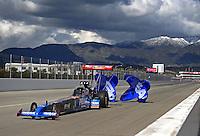 Feb. 26, 2011; Pomona, CA, USA; NHRA top fuel dragster driver T.J. Zizzo during qualifying for the Winternationals at Auto Club Raceway at Pomona. Mandatory Credit: Mark J. Rebilas-