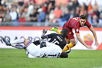 Emil Audero of Sampdoria , Omar Colley of Sampdoria and Patrik Schick of AS Roma  during the Serie A 2018/2019 football match between AS Roma and UC Sampdoria at stadio Olimpico, Roma, November, 11, 2018 <br />  Foto Andrea Staccioli / Insidefoto