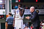 S&ouml;dert&auml;lje 2014-03-25 Basket SM-kvartsfinal 1 S&ouml;dert&auml;lje Kings - J&auml;mtland Basket :  <br /> J&auml;mtlands Brandon Peterson deppar under en diskussion med tr&auml;nare coach Pontus Frivold <br /> (Foto: Kenta J&ouml;nsson) Nyckelord:  S&ouml;dert&auml;lje Kings SBBK J&auml;mtland Basket SM Kvartsfinal Kvart T&auml;ljehallen depp besviken besvikelse sorg ledsen deppig nedst&auml;md uppgiven sad disappointment disappointed dejected diskutera argumentera diskussion argumentation argument discuss