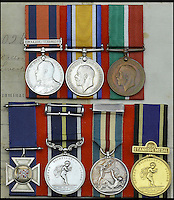 BNPS.co.uk (01202 558833)<br /> Pic: DixNoonanWebb/BNPS<br /> <br /> (Top L to R) Transport Medal 1899-1902, 1 clasp, S. Africa 1899-1902; British War and Mercantile Marine War Medals; (bottom L to R) Imperial Merchant Service Guild Cross; Royal Humane Society medal; Lloyd&rsquo;s Medal for Saving Life at Sea; Royal Humane Society, Stanhope Gold Medal.<br /> <br /> The medals of a hero captain who dived into shark infested waters during a monsoon to rescue a seaman who had been swept overboard have emerged for auction.<br /> <br /> Captain John Henry Collin of the Merchant Navy was fully aware there were several sharks circling the vessel when, without hesitating, he jumped into the Red Sea.<br /> <br /> Showing a complete disregard for his own well-being, he swam after a distressed seaman who was stranded in the sea and hauled him back on to the boat. <br /> <br /> The seaman survived and Capt Collin, in recognition of his bravery, was awarded the Stanhope Gold Medal for 1896 which was given for the most heroic rescue.