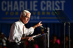 MIAMI, FL - OCTOBER 17: Former Florida Governor and now Democratic gubernatorial candidate Charlie Crist speaks to supporters as he campaigns with First Lady Michelle Obama during an event at the Betty T. Ferguson Recreational Complex Gymnasium on Friday October 17, 2014 in Miami, Florida. Crist is facing off against incumbent Republican Governor Rick Scott in the November 4, 2014 election. (Photo by Johnny Louis/jlnphotography.com)