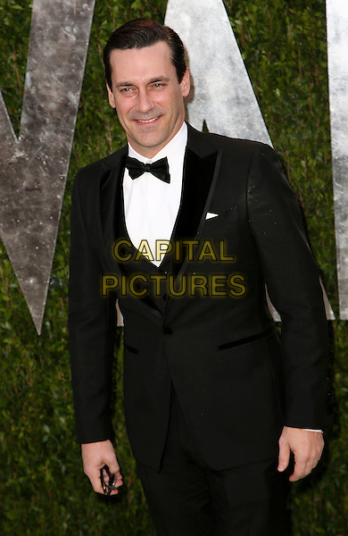 Jon Hamm.2013 Vanity Fair Oscar Party following the 85th Academy Awards held at the Sunset Tower Hotel, West Hollywood, California, USA..February 24th, 2013.oscars half length black tuxedo white shirt bow tie .CAP/ADM/SLP/DOW.©Dowling/StarlitePics/AdMedia/Capital Pictures