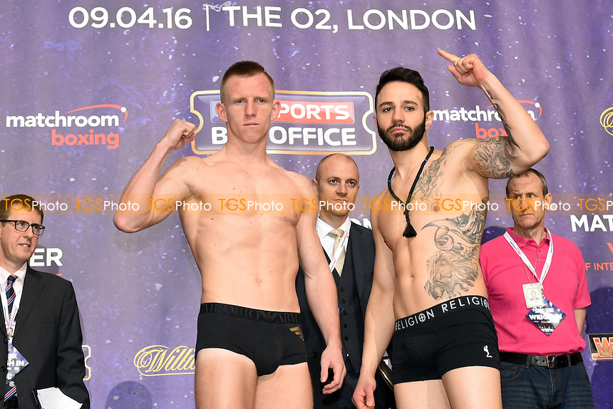 Ted Cheeseman (L) and Mario Petrov during the Anthony Joshua vs Charles Martin Weigh-In at the O2 Arena on 8th April 2016