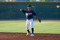 AZL Indians Red shortstop Yordys Valdes (10) throws to first base during an Arizona League game against the AZL Padres 1 on June 23, 2019 at the Cleveland Indians Training Complex in Goodyear, Arizona. AZL Indians Red defeated the AZL Padres 1 3-2. (Zachary Lucy/Four Seam Images)
