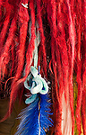 Red Dreads - Red dredlocks, blue feather