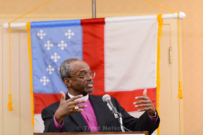 Trent Nelson     The Salt Lake Tribune<br /> Michael Curry, named Saturday as the Episcopal Church's first African-American presiding bishop, spoke to reporters during the  national assembly in Salt Lake City, Saturday June 27, 2015.