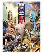 Howard, REALISTIC ANIMALS, REALISTISCHE TIERE, ANIMALES REALISTICOS, selfies,giraffe,elephant,zebra,lion,times square, paintings+++++,GBHRPROV251,#a#, EVERYDAY