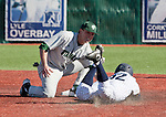 February 24, 2012:   Nevada Wolf Pack baserunner Jay Anderson is tagged out by  Utah Valley Wolverines second baseman Cole McWhorter during their NCAA baseball game played at Peccole Park on Friday afternoon in Reno, Nevada.