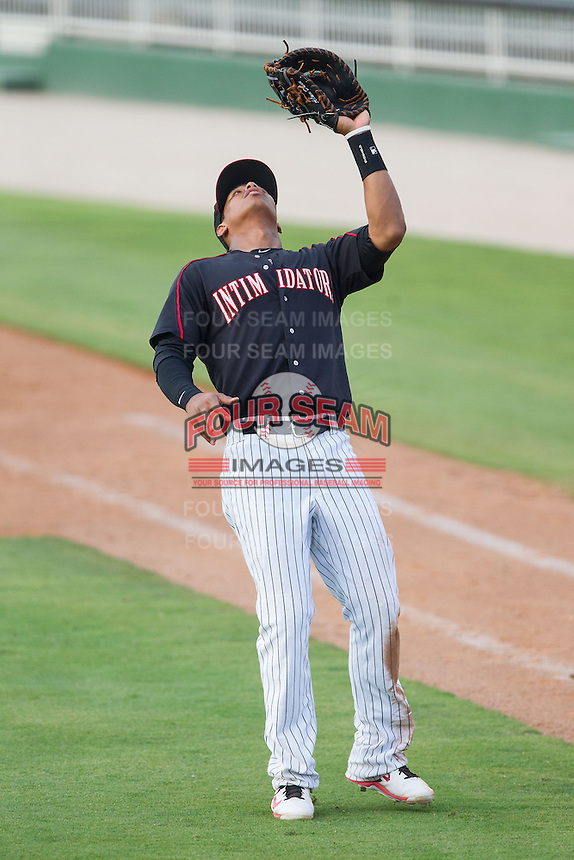 Kannapolis Intimidators first baseman Tyler Williams (6) catches a pop fly during the game against the Asheville Tourists at CMC-NorthEast Stadium on July 13, 2014 in Kannapolis, North Carolina.  The Tourists defeated the Intimidators 8-2.  (Brian Westerholt/Four Seam Images)