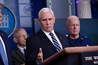 United States Vice President Mike Pence makes remarks on the Coronavirus crisis in the Brady Press Briefing Room of the White House in Washington, DC on Saturday, March 21, 2020.<br /> Credit: Stefani Reynolds / Pool via CNP/AdMedia