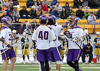 University at Albany Men's Lacrosse defeats Drexel 18-5 on Feb. 24 at Casey Stadium.  UAlbany celebrates a Tehoka Nanticoke (#1) goal. (Photo by Bruce Dudek / Cal Sport Media/Eclipse Sportswire)