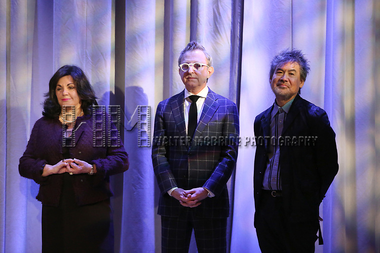 Charlotte St. Martin, Thomas Schumacher and David Henry Hwang attend the 2018 Tony Awards Nominations Announcement at The New York Public Library for the Performing Arts on May 1, 2018 in New York City.