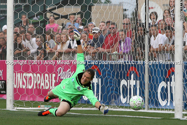 27 August 2011: Philadelphia's Nicole Barnhart is beaten during the penalty kick shootout. Western New York Flash defeated the Philadelphia Independence 5-4 on penalty kicks to win the final after the game ended in a 1-1 tie after overtime at Sahlen's Stadium in Rochester, New York in the Women's Professional Soccer championship game.