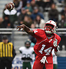 Terrance Edmond #14 of Freeport throws a pass during the Class I Long Island Championship against Floyd at Shuart Stadium in Hempstead on Saturday, Nov. 24, 2018.