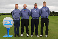 The Galway Team for the Final of the Barton Shield in the AIG Cups & Shields Connacht Finals 2019 in Westport Golf Club, Westport, Co. Mayo on Saturday 10th August 2019.<br /> <br /> Ronan Mullarney, Joe Lyons, Gerry Cox (Team Captain) and Liam Nolan.<br /> <br /> Picture:  Thos Caffrey / www.golffile.ie<br /> <br /> All photos usage must carry mandatory copyright credit (© Golffile | Thos Caffrey)