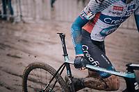 Tim Merlier (BEL/Creafin-TUV) seems to have a problem...<br /> #saddle<br /> <br /> Superprestige cyclocross Hoogstraten 2019 (BEL)<br /> Elite Men's Race<br /> <br /> &copy;kramon