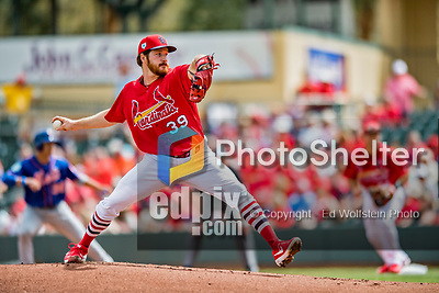28 February 2019: St. Louis Cardinals pitcher Miles Mikolas on the mound to start a Spring Training game against the New York Mets at Roger Dean Stadium in Jupiter, Florida. The Mets defeated the Cardinals 3-2 in Grapefruit League play. Mandatory Credit: Ed Wolfstein Photo *** RAW (NEF) Image File Available ***