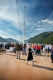 CANADA, Vancouver, British Columbia, passengers enjoy the views off the Holland America Cruise Ship, the Oosterdam, while it navigates the Seymour Narrows in the Inside Passage North of Campbell River on the way North to Ketchikan