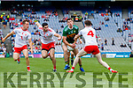 Paul Geaney, Kerry in action against Michael Cassidy and Rory Brennan, Tyrone during the All Ireland Senior Football Semi Final between Kerry and Tyrone at Croke Park, Dublin on Sunday.