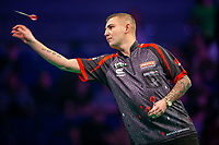 12th March 2020; M and S Bank Arena, Liverpool, Merseyside, England; Professional Darts Corporation, Unibet Premier League Liverpool; Nathan Aspinall during his night six match against Gary Anderson