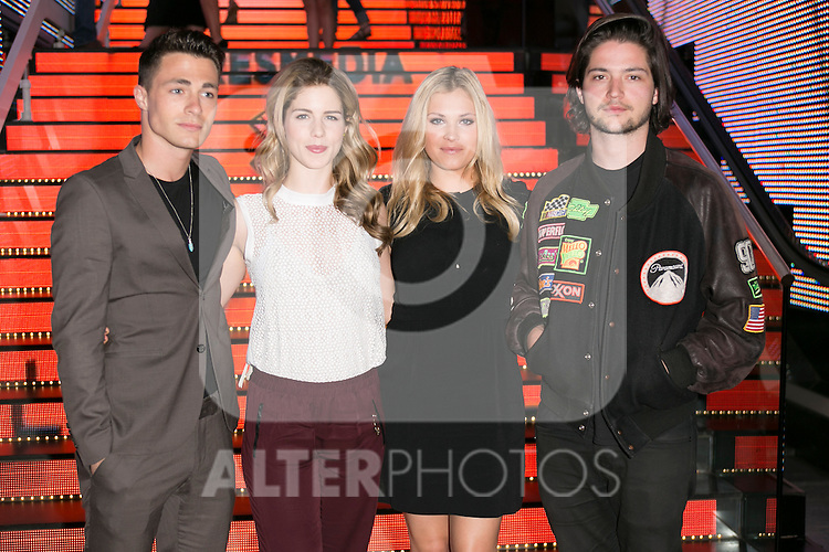 "The actors (from Left to Right) Colton Haynes and Emily Bett Rickards, Eliza Taylor, Thomas McDonell attends the fan event of the tv shows ARROW and THE 100, at the ""ATRESMEDIA CAFE""   in Madrid, Spain. Jun 9, 2014. (ALTERPHOTOS/Carlos Dafonte)"