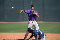 Colorado Rockies shortstop Kennard McDowell (96) during a Minor League Spring Training game against the Milwaukee Brewers at Salt River Fields at Talking Stick on March 17, 2018 in Scottsdale, Arizona. (Zachary Lucy/Four Seam Images)