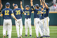 Michigan Wolverines pitcher Willie Weiss (20) warms up in between inning of Game 6 of the NCAA College World Series against the Florida State Seminoles on June 17, 2019 at TD Ameritrade Park in Omaha, Nebraska. Michigan defeated Florida State 2-0. (Andrew Woolley/Four Seam Images)