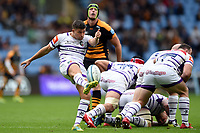 Ben Youngs of Leicester Tigers box-kicks the ball. Gallagher Premiership match, between Wasps and Leicester Tigers on September 16, 2018 at the Ricoh Arena in Coventry, England. Photo by: Patrick Khachfe / JMP