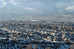 East Wenatchee, Washington in winter, showing air pollution during inversion.