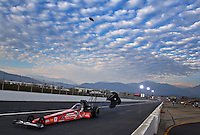 Feb 8, 2014; Pomona, CA, USA; NHRA top fuel dragster driver Spencer Massey during qualifying for the Winternationals at Auto Club Raceway at Pomona. Mandatory Credit: Mark J. Rebilas-
