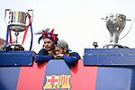 League Santander 2017/2018.<br /> Rua de Campions FC Barcelona.<br /> Andres Iniesta &amp; Sergio Busquets.