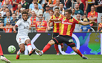 20190803 - LENS , FRANCE : Lens' Clement Michelin (R)) and Guingamp's Morgan Poaty (L) pictured during the soccer match between Racing Club de LENS and En Avant Guingamp , on the second matchday in the French Dominos pizza Ligue 2 at the Stade Bollaert Delelis stadium , Lens . Saturday 3 th August 2019 . PHOTO DIRK VUYLSTEKE | SPORTPIX.BE