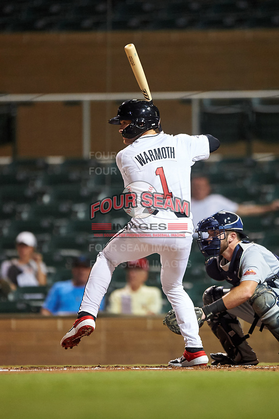 Scottsdale Scorpions Logan Warmoth (1), of the Toronto Blue Jays organization, at bat during an Arizona Fall League game against the Glendale Desert Dogs on September 20, 2019 at Salt River Fields at Talking Stick in Scottsdale, Arizona. Scottsdale defeated Glendale 3-2. (Zachary Lucy/Four Seam Images)