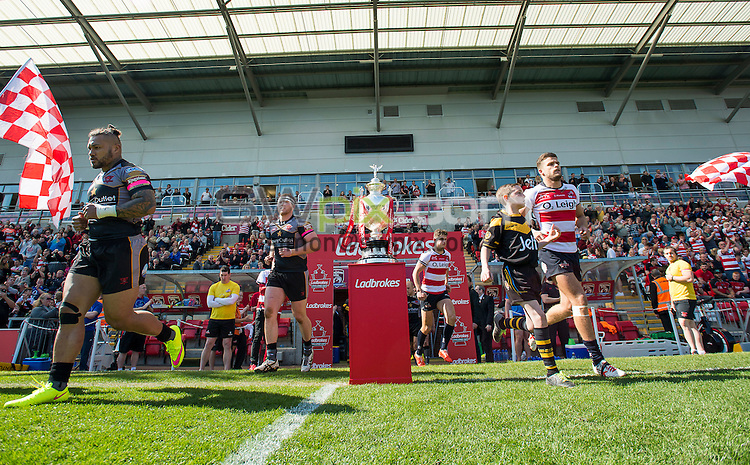 Picture by Allan McKenzie/SWpix.com - 18/04/2015 - Rugby League - Ladbrokes Challenge Cup - Leigh Centurions v Salford Red Devils - Leigh Sports Village, Leigh , England - Salford & Leigh take to the field.