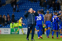 Cardiff City manager Neil Warnock celebrates with the fans at full time of the Sky Bet Championship match between Cardiff City and Norwich City at the Cardiff City Stadium, Cardiff, Wales on 1 December 2017. Photo by Mark  Hawkins / PRiME Media Images.