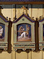 Stationen des Kreuzweg im Vorraum, katholische Holzkirche St. Franziskus, 1593 bis 1596, Hervartov bei Bardejov, Presovsky kraj, Slowakei, Europa, UNESCO-Weltkulturerbe<br /> stations of the cross in Catholic wooden Church St. Francis 1593-1596 in Hervartov near Bardejov, Presovsky kraj, Slovakia, Europe, UNESCO world heritage
