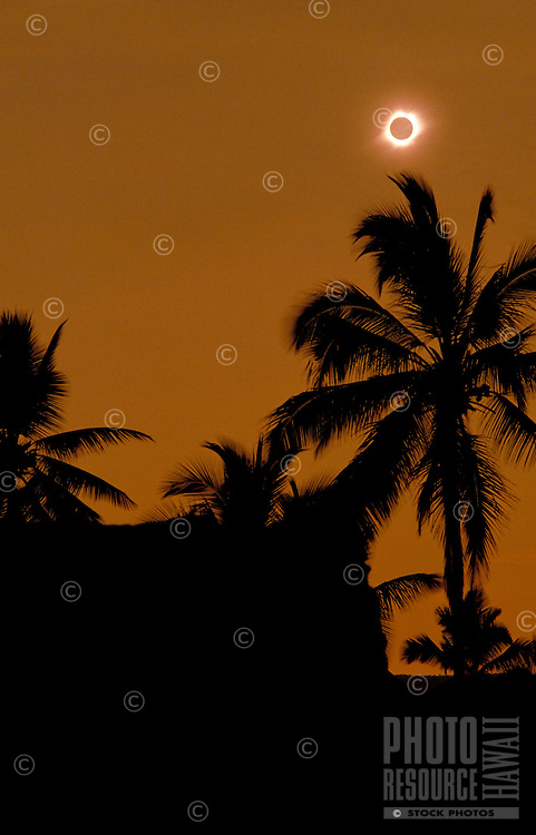 Solar eclipse with silhouetted palm trees at Puuhonua Honaunau, Big Island