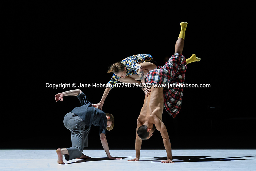 London, UK. 11.11.19. Emanuel Gat Dance returns to Sadler's Wells Theatre, on the 11th and 12th November, to present WORKS, a series of seven short pieces, varying in structure, musical composition and choreographic direction, as part of he Institut Français' festival, FranceDance UK. The dancers are: Robert Bridger, Peter Juhasz, Michael Lohr, Emma Mouton, Genevieve Osborne, Eddie Oroyan, Karolina Szymura, Milena Twiehaus, Sara Wilhelmsson, Emanuel Gat, Thomas Bradley Asherie. Photograph © Jane Hobson.