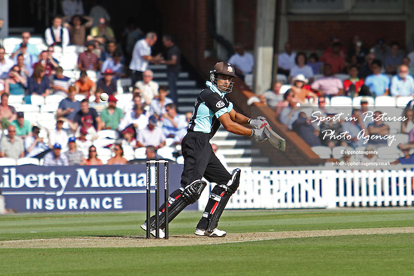 Vikram Solanki plays a shot behind  - Middlesex CCC v Durham CCC. Yorkshire Bank 40 Group B. The KIA Oval. London. Surrey. 02/08/2013. MANDATORY Credit Robert Smith/SIPPA - NO UNAUTHORISED USE - 07837 394578