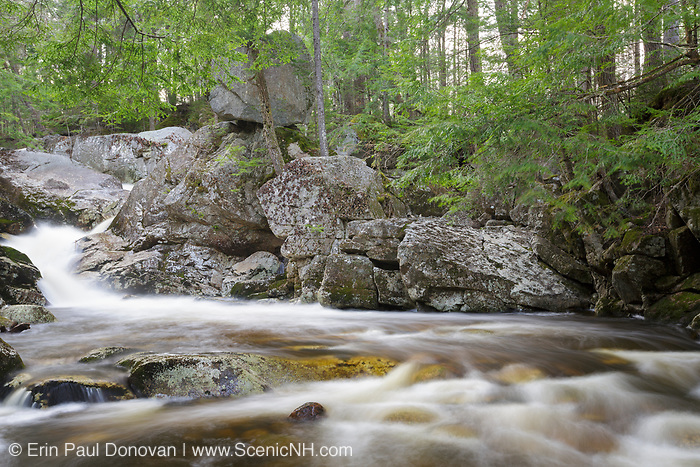 Balance Rock and Bell's Cascade on Gordon Pond Brook in North Woodstock, New Hampshire USA during the spring months.