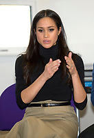 01 December 2017 - Meghan Markle at the Nottingham Academy school in Nottingham, Nottinghamshire where she met head teachers, pupils, staff and mentors involved in the Full Effect programme. The couple took part in their first official visit together, choosing to raise awareness of HIV/AIDS with a visit to a youth project in Nottingham, Nottinghamshire. Photo Credit: ALPR/AdMedia