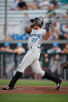 Hudson Valley Renegades third baseman Kaleo Johnson (27) grounds out and loses his bat during a game against the Auburn Doubledays on September 5, 2018 at Falcon Park in Auburn, New York.  Hudson Valley defeated Auburn 11-5.  (Mike Janes/Four Seam Images)