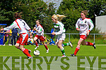 Megan O'Connor of Listowel Celtic launches an attack against Aishling Barrett and Grainne Reilly of Kilmore Ladies FC in the Cup semi final played last Sunday in Pat Kennedy Park, Listowel.