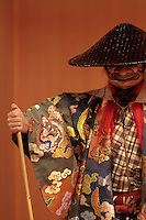 Amateur actors perform in No theatre plays at a No Theatre in Shibuya Cerulean Tower Hotel in Shibuya, Tokyo, Japan. Sunday October 18th 2015